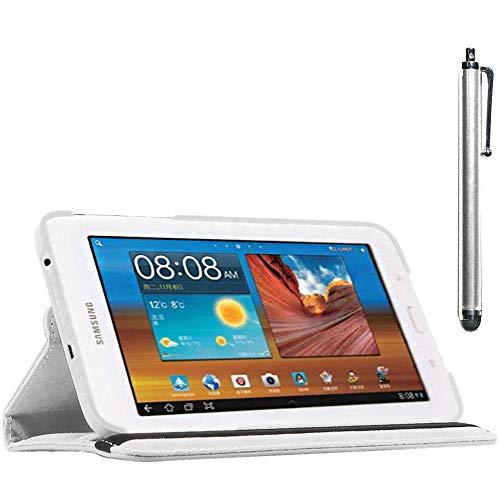 ebestStar - Funda Compatible con Samsung Galaxy Tab 3 Lite 7.0 SM-T110, VE SM-T113 Carcasa Cuero PU, Giratoria 360 Grados, Función de Soporte + Lápiz, Blanco [Aparato: 193.4 x 116.4 x 9.7mm, 7.0'']