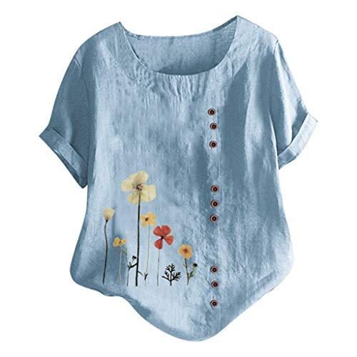 Buy Toimothcn Women Cotton Linen Tops, Loose Casual Plus Size Tunic Cute Printed Button Tunic Shirt ...