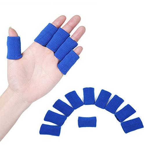 TRIXES 10 Stück blaue Fingerschützer muskelerwärmende dehnbare Unterstützung als Gelenkschutz und Sporthilfe
