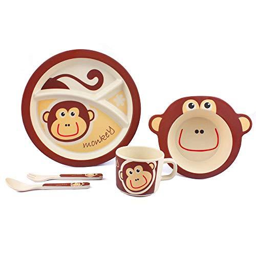 Juego de Vajilla Infantil, Afufu Vajillas de bambú para Bebé y Niños, Cubiertos Infantiles Incluye Plato, Tazón, Vaso, Cuchara y Tenedor. Sin tóxicos BPA. Apto para Lavavajillas. (5 Piezas)