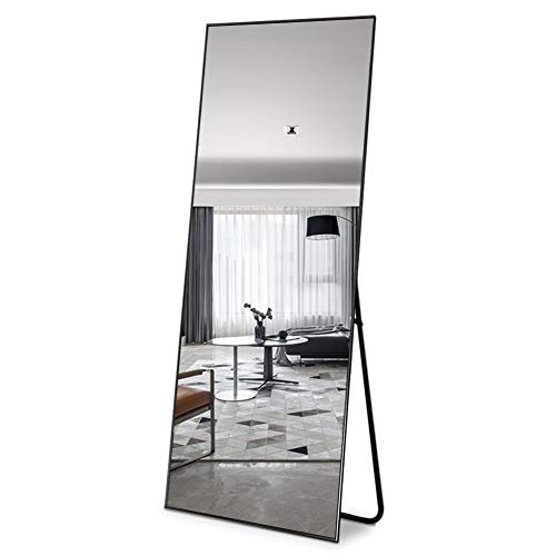 Leafmirror Floor Full Length Mirror Standing Full Body Dressing Mirrors with Stand Hanging Wall Mounted Large Rectangle Metal Frame Leaning Bedroom Living Room Décor 65 x 22 in (Black)