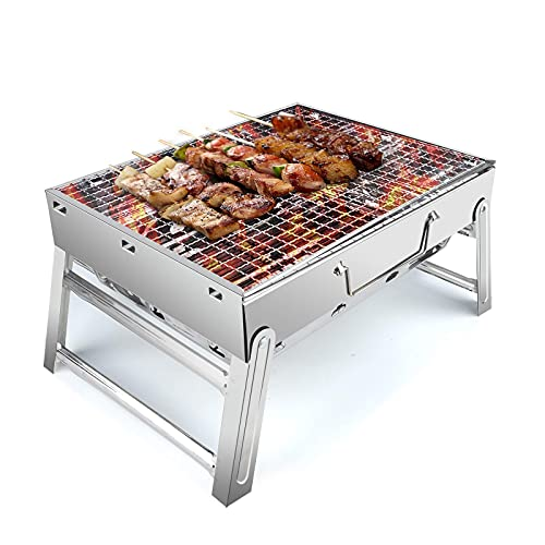 Barbecue Charcoal Grill Portable Folding BBQ Grill Barbecue Desk Tabletop Outdoor Stainless Steel Smoker BBQ for Picnic Garden Terrace Camping Travel 15.35''x11.41''x2.95''