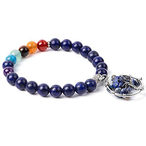 MATEPROX Pulsera de Cristal Curativo con 7 chakras, Joyería de Piedra Natural, Pulsera de Piedras Preciosas con Cuentas de árbol de La Vida, Pulsera Elástica de meditación y yoga-Lapislázuli