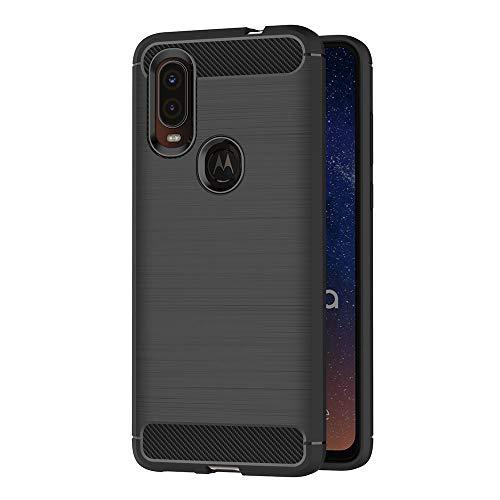 AICEK Hülle Compatible Moto One Vision, Schwarz Silikon Handyhülle für Motorola Moto One Vision Schutzhülle Karbon Optik Soft Hülle (6,3 Zoll)