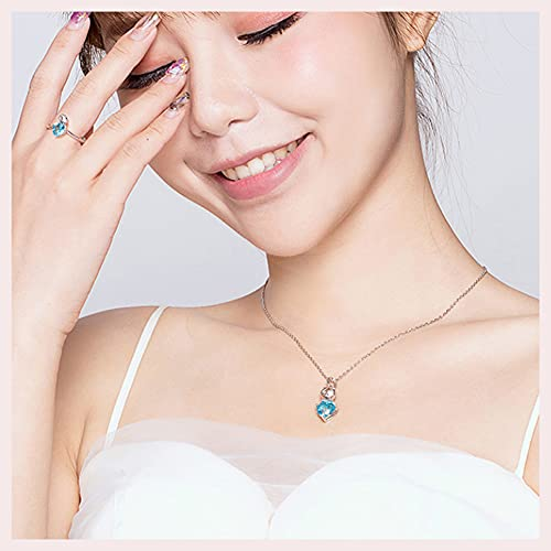 CHXISHOP 925 joyería de plata esterlina de dos piezas anillo collar azul gato moda conjunto