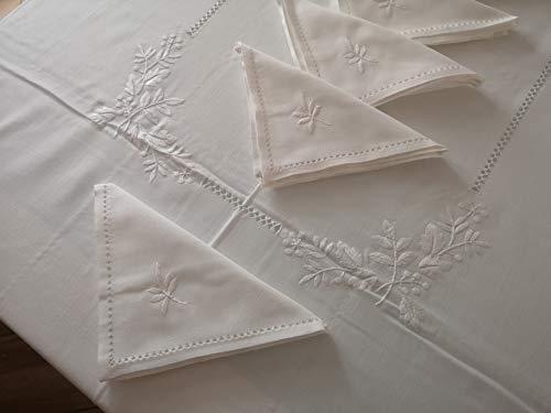 Elegante tovaglia x 12 in Misto Lino (40% Lino 60% Cotone) con Ricamo Fiori a Mano in Punto Pieno