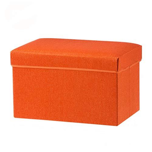 Wddwarmhome Tabouret de Rangement pour boîte de Rangement, Pouf Pliable, en Tissu Non tissé - Poids Maximal 100 kg - Facile à Nettoyer (Couleur : Orange)