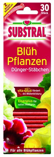 Substral 8740528 Dünger-Stäbchen für Blühpflanzen mit Eisen-Plus und 2 Monate Langzeitwirkung, 30 Stück