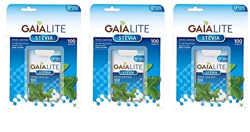 GAIA Lite Stevia Natural Sweetener, 100 Tablets (Pack of 3)