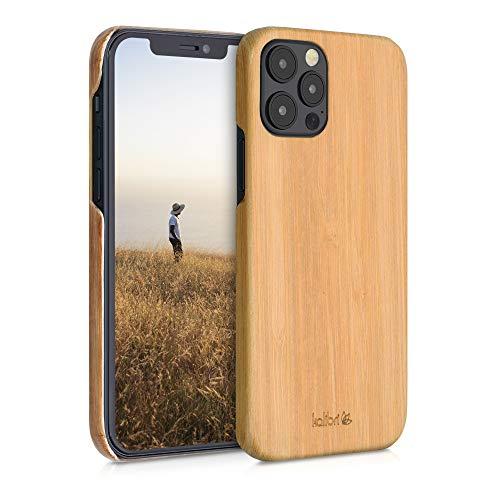 kalibri Schutzhülle kompatibel mit Apple iPhone 12/12 Pro - Hülle Handy Holz - Slim Hülle Handyhülle Hellbraun