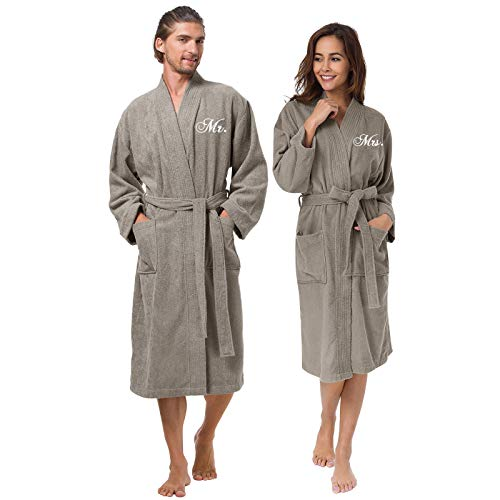 AW BRIDAL Cotton Robes for Couple Falcon Embroidery Terry Bathrobes Unisex Mr and Mrs Hotel Robes Warm Long Lightgown