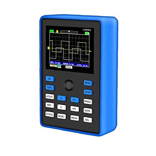 fregthf Osciloscopio de Ancho de Banda Osciloscopio Digital Profesional 500 ms / s Tasa de muestreo 110MHz Ancho de Banda 2.4 Pulgadas de Soporte de Forma de Onda Azul