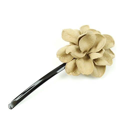 rougecaramel - Accessoires cheveux - Mini pince fleur en cuir véritable - beige