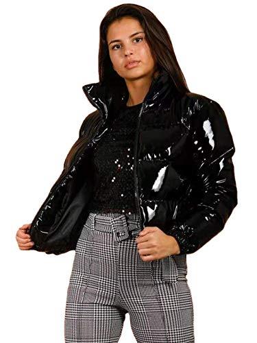 ZHMIAO Abrigo de Mirada mojada, Collar de Soporte de Invierno para Mujer Mirada mojada PU Cuero Brillante Puffer Burbuja Chaqueta de algodón de la Burbuja Black-M