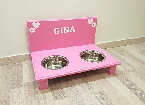 Hunde Futternapf. Frei gestalten mit Wunschname und Deko. Hundenapf für große Hunde. Napf Hund. Futterbar Hunde in rosa 2 x 750 ml Edelstahlnapf (N110)