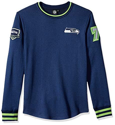 Ultra Game Men's NBA Fleece Sweatshirt Long Sleeve Shirt Rib Stripe, Seattle Seahawks, Navy, Medium