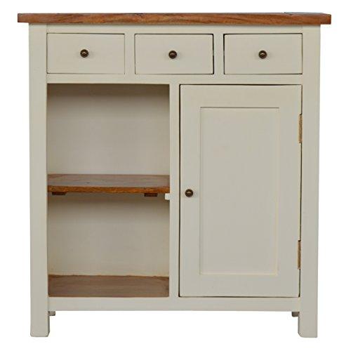 Artisan Furniture Handwerker 2Straffen Küche Einheit mit 3Schubladen, 2offenen Regalen, Holz, Speicher Top und weiß lackiert Boden, 85x 35x 90cm