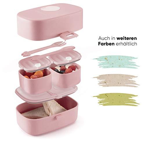 Ecolina ♻ Nachhaltige Lunchbox für Kinder - 3 integrierte praktische Dosen - Extra kinderfreundliche Bento Box - Perfekt für Unterwegs (Rosa)