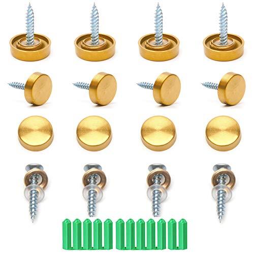 Zierschrauben Schrauben 12 Größen 16mm Gold 304 verdickte Edelstahl gebürstete Spiegelnägel Acryl-Dekorschrauben für Möbelzubehör, Wandspiegel, Werbeartikel für Schilder USW.