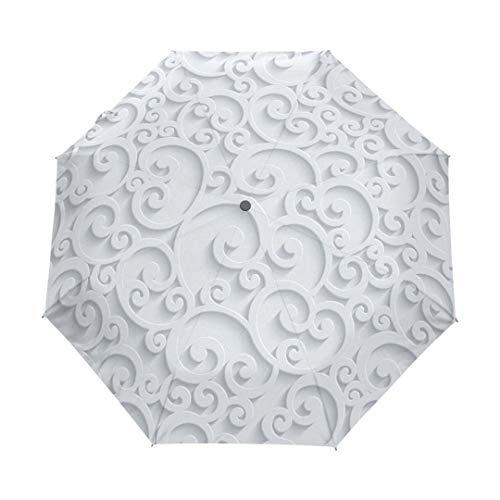 Mdsgfc completo automático 3D floral blanco chino paraguas 3 paraguas plegable lluvia mujeres anti UV viaje al aire libre item4