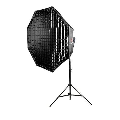 LED200D MKIII con paraguas de 150 cm y soporte acolchado de aire de 300 cm 200 W LED COB chip luz de día equilibrada 150 cm 59 pulgadas paraguas fácil abierto Softbox red red red nido de abeja