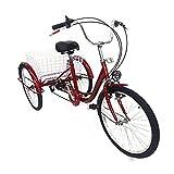 Triciclo da 24 pollici per adulti, triciclo per adulti a 6 marce, con cestino, 3 biciclette, anziani, shopping tricycle