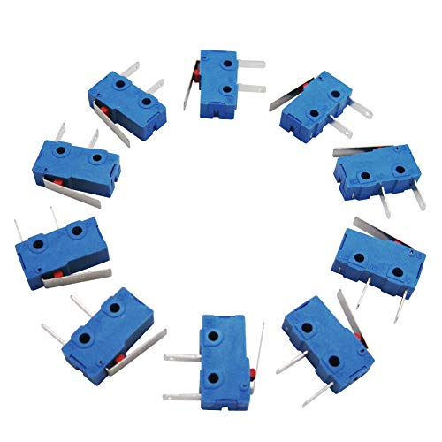 Twidec /10Pcs 5A 125 250V AC SPDT 1NO Short Lever Arm Switch Snap Action Button Type 2 Pins Mini Micro Limit Switch KW11-3Z08