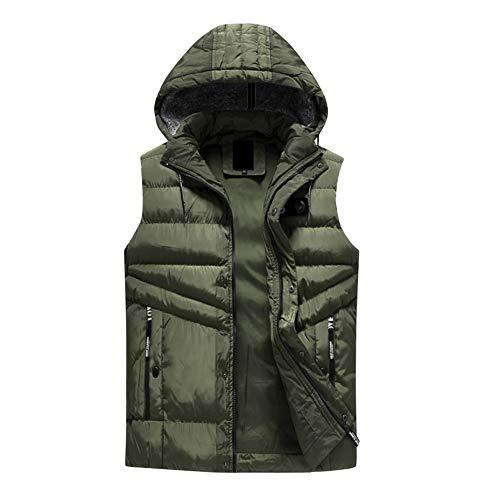 Zarupeng Herenvest, gewatteerde katoenen mantel, eenkleurig, groot, warme capuchon, dik, gewatteerd vest met afneembare kap