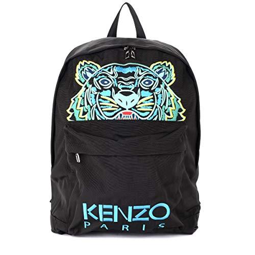 Kenzo Mochila XL con tigre multicolores de tejido negro y