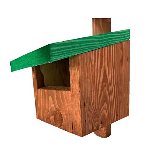 Vogelhaus für Redstarts, Amseln, Rotkehlchen und Turmfalken - braun mit Gründach