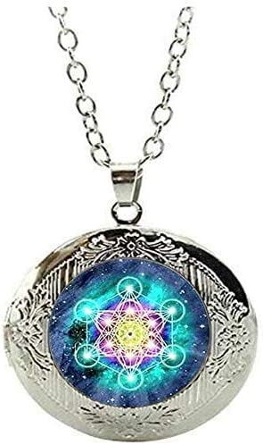 Psychedelic Sacred Geometry Locket Necklace Jewelry Gift Art Picture Jewelry