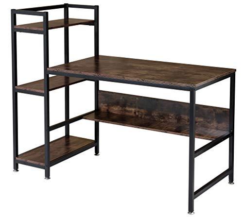 BOTONE Schreibtisch mit Regal, Ablagefläche, Computertisch fürs Büro Arbeitszimmer im Industrie-Design, PC-Tisch mit Metallgestell, rustikal, Vintage, Füße verstellbar (136x60x112cm)