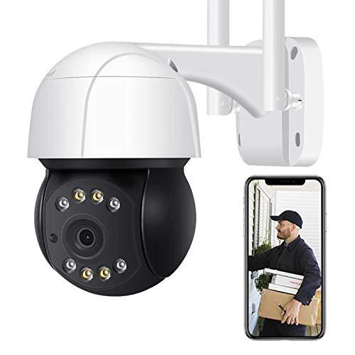AINSS Cámara De Vigilancia WiFi Exterior,3MP HD WiFi PTZ CCTV IP Cámara,Alarma De Voz DIY,Audio De 2 Vías,IP66 Impermeable,Seguimiento Automático,Visión Nocturna En Color [3MP-WiFi-Cámara]
