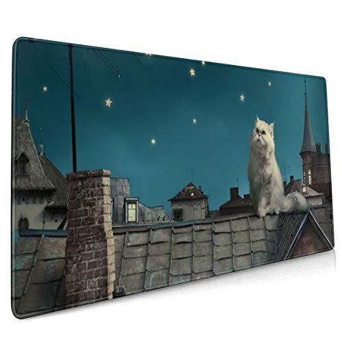 Mauspad für Gaming-Tastatur, persische weiße Katze, Kätzchen, Märchen, Fantasie, Dachhaus, Himmel, Nacht, rutschfest, Gummi, 40 x 90 cm