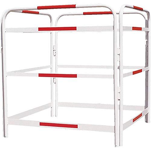 ROBUSTO Schachtabsperrung Stahl Nr. 1, 4 Elemente, mit Fuß-/Knieleiste, weiß/rot, 100x100 cm aus Stahl