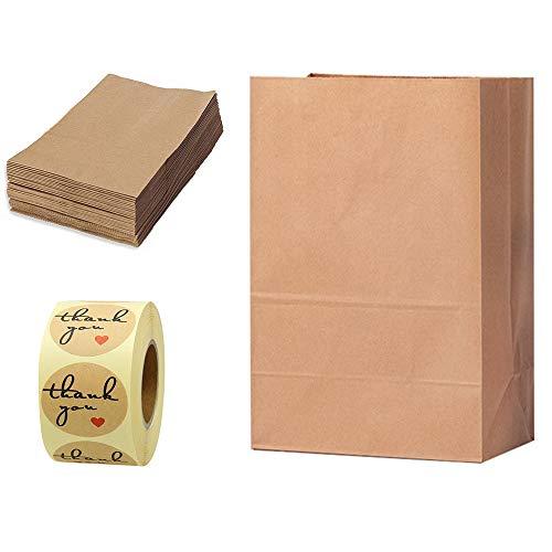 50 Piezas Bolso Kraft Marrón + 1 Rollo Pegatinas de Bricolaje,Bolsas de Regalos de Fiesta/Bolsas de Papel Reciclado de Comida para Llevar, Bolsas para Cumpleaños Navidad (27 * 15 * 9 cm)