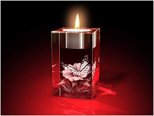 GLASFOTO.COM Glasfoto 3D Blume mit Schmetterling Teelicht – Kristallglas mit Innengravur als Geschenk für jeden Anlass 50 x 80 x 50