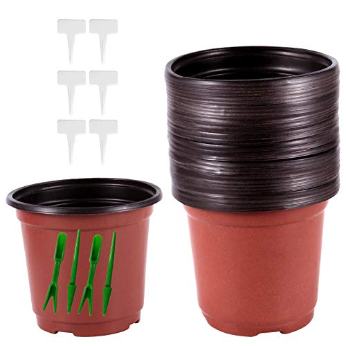 ZEONHEI 120 PCS 4 Inch Plastic Plants Nursery Pots Plastic Flower Seedlings Plant Pots Flower Starter Pots with 120 PCS Plastic Waterproof T Type Tags and 2 Set Transplanting Digging Mini Tools