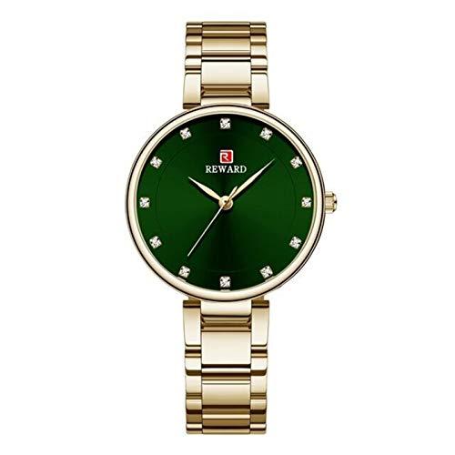JCCOZ-URG Relojes de las mujeres de la marca de la mejor marca de lujo de la correa de acero inoxidable de lujo reloj de pulsera Rosa Reloj de oro Reloj hembra Cuarzo Reloj Mira esposa Girl Regalo JCC