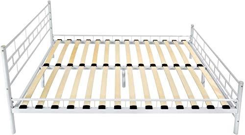 Metallbett, hat eine moderne doppelte Struktur - stabile robuste Struktur,White-180x200 cm
