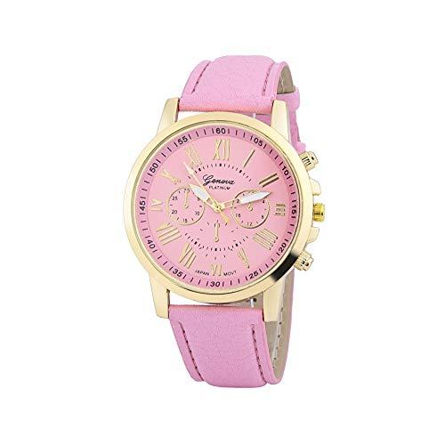 Xinantime Relojes Pulsera Mujer,Xinan Cuarzo Romana Cuero de Imitación Relojes Regalo (Rosa)
