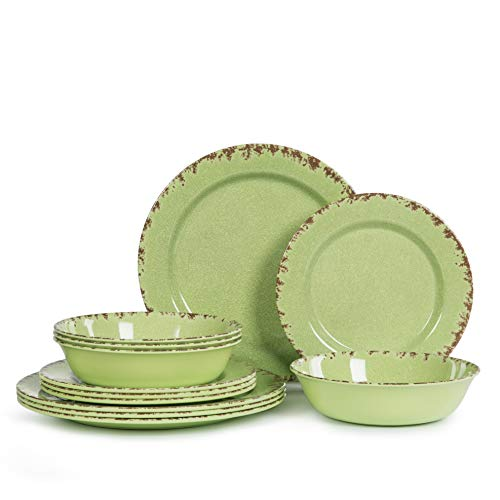 12pcs Melamine Dinnerware set for 4, Outdoor Use Dinner Dishes Set for Camper, Break-resistant, Green Beans Color …