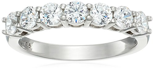 Platinum-Plated Sterling Silver 7-Stone Ring made with Swarovski Zirconia (1 cttw), Size 7