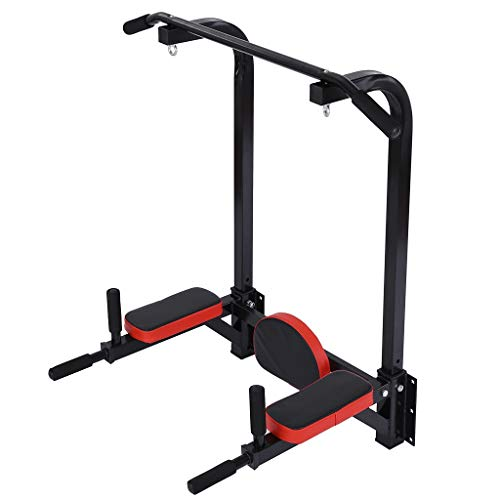 DAITU Wall Mounted Pull Up Bar Multifunctional Chin Up Bar, Dip Stand for Indoor Home Gym Workout, Power Tower Set Support to 265Lbs (Black)