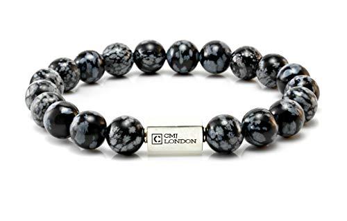 CMJ London Hombre Unisex Plata fina 925 plata de ley redonda Black White Obsidiana