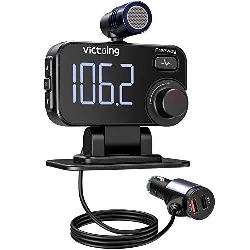 VicTsing Bluetooth FM Transmitter mit LED Display, QC3.0& Musik Stereo Bluetooth Adapter Auto, KFZ MP3 Player Kit mit Geräuschunterdrückungsmikrofon, Unterstützungs TF Karte, Siri Google