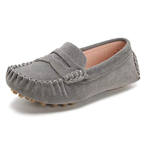 Penny Loafers for Little Kids Square Moc Toe Stiching Slip on Faux Suede Flexiable Rubber Sole Flat Heel Toddler's Moccasins a Size Smaller (Color : Gray, Size : 11 M US Little Kid)