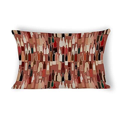 Funda de almohada de 50,8 x 76,2 cm, botellas de vino, colores de la tierra, fondo decorativo de algodón y lino, funda de almohada lumbar para sofá, ropa de cama, coche y decoración del hogar
