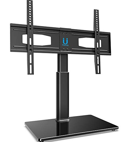 FITUEYES Universal TV Stand/Base Tabletop TV Stand with Swivel Mount for 32 to 60 inch Flat Screen TV Height Adjustable,Tempered Glass Base TT105202GB