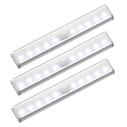 3PCS Schranklicht, 10 LED Unterbauleuchte mit Bewegungsmelder, Batterie betrieben Küchenlampe, Weiß Schrankleuchte für Kleiderschrank Küche Treppen Garderobe Schlafzimmer